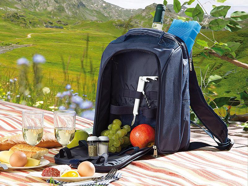 Picknick Rucksack Isoliert Thermofach Kühltasche Campingrucksack für 4 Personen