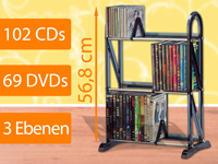 "Xcase CD-/DVD Multimedia-Regal ""Bronx"" für 102 CDs oder 69 DVDs"
